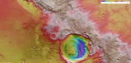 Schiaparelli on Mars shaped by wind, water