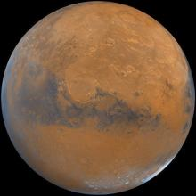 A handout image received courtesy of the US Geological Survey shows an image of the planet Mars