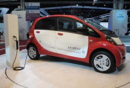 A Mitsubishi MiEV electric car is presented at the Paris Auto Show