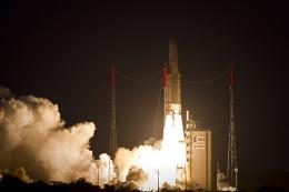 An Ariane 5 rocket taking off from Kourou in 2010