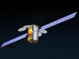 An image released by Eutelsat shows a computer-generated image of the European satellite Ka-Sat