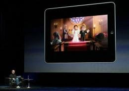 Apple Inc. CEO Steve Jobs demonstrates the movie function of the new iPad
