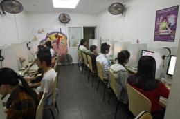 Internet users in an Internet shop in Hanoi
