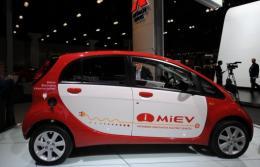 Japan's Mitsubishi Motors unveiled its i-MiEV electric car in Hong Kong