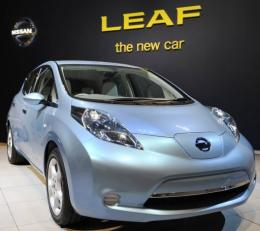 Japan's Nissan Motor's Leaf electric vehicle at the company's global headquarters in Yokohama
