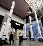 Models of the Long March rocket are seen at the Sichuan Science and Technology Museum in Chengdu