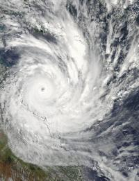 NASA Aqua Satellite sees powerful Cyclone Yasi make landfall in Queensland, Australia