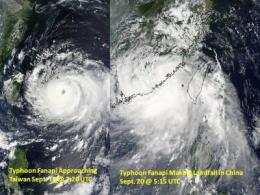 NASA captures very heavy rain in Typhoon Fanapi and 2 landfalls