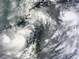 NASA's Terra Satellite captures 3 tropical cyclones in the northwestern Pacific Ocean