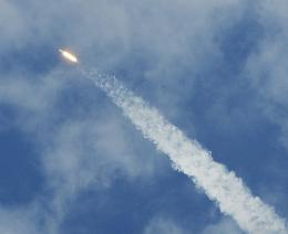 The Space X Falcon 9 rocket heads for space in June 2010 in Florida, on its first test flight