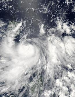 Tropical Storm Conson sweeping through the Northern Philippines