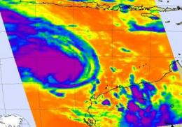 NASA infrared satellite data see an intensifying Tropical Storm Dianne