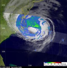 NASA satellite and International Space Station catch Earl weakening