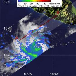 NASA's TRMM satellite sees Hurricane Celia's moderate rainfall
