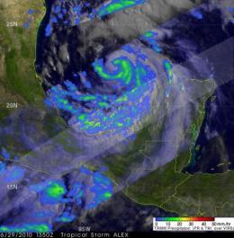 NASA's TRMM satellite sees heavy rainfall in Hurricane Alex