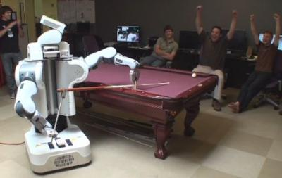 Willow Garage's PR2 robot learns to play pool