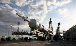 A Soyuz TMA-01M spacecraft is transported  to its launch pad at the Baikonur cosmodrome in Kazakhstan in October 2010