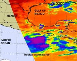 NASA's infrared satellite imagery sees Tropical Storm Darby form quickly