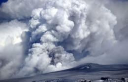 Smoke and ash billowing from Iceland's Eyjafjallajokull volcano in April