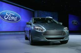 The brand new all-electric Ford Focus is displayed at the 2011 International Consumer Electronics Show