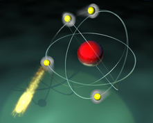 Cartoon of an atom emitting a photon