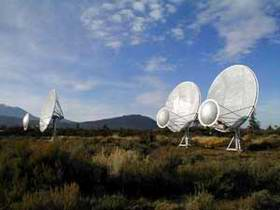 Three prototype radio dishes now in place at Hat Creek Observatory in northern California