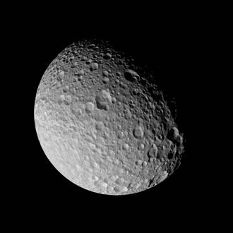 Cassini flies by Saturn's tortured moon Mimas