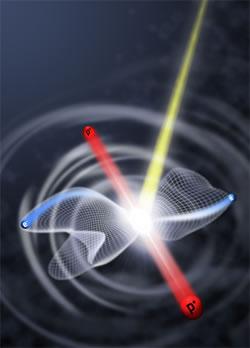 A hydrogen molecule hit by an energetic photon breaks apart