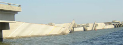 Interstate 10's eastbound and westbound bridges suffered severe damages.