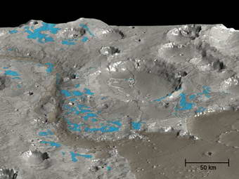 In this HRSC 3D perspective view of the Marwth Vallis area (shades of grey), OMEGA has mapped the water-rich minerals (blue).