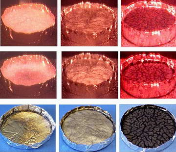 Video sequences reveal how different additives affect the behavior of a plastic material (PMMA) when heated under fire-like cond