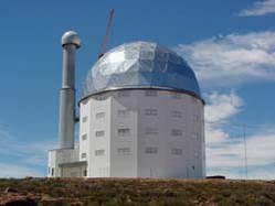 The South African Large Telescope (SALT), nears completion near Sutherland, South Africa