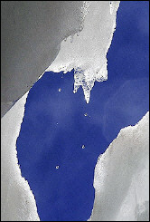 Close-up of a melting glacier