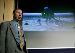NASA Administrator Michael Griffin speaks to the press