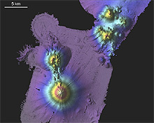 One of the submerged volcanoes found by the research teams