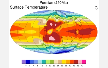 The CCSM image shows temperatures in degrees Celsius at the time of the Permian extinction.Credit: Courtesy Jeffrey Kiehl, NCAR