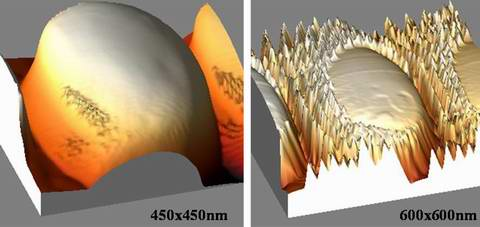 Comparison between a silicon tip (left) and a nanotube