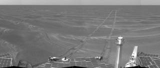 Opportunity used its navigation camera to take the images combined into this view of the rover's surroundings