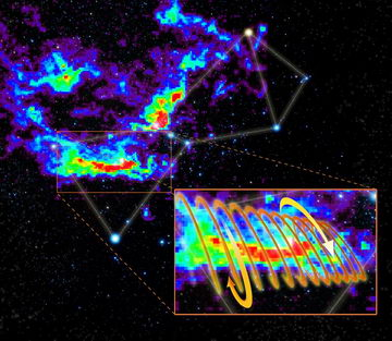 The Orion Molecular Cloud superimposed on the Orion constellation