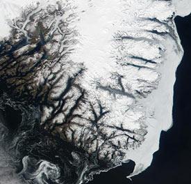 Greenland ice sheet on a downward slide