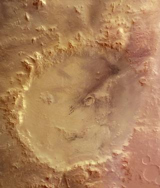 'Happy face' crater on Mars
