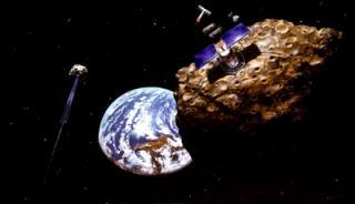 Asteroid mining, an artist's concept.