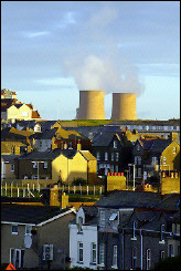 Steam rises from cooling towers at the Sellafield nuclear plant in northern England