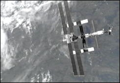 A view of the International Space Station (ISS) from the space shuttle Discovery