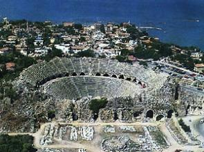 The Roman amphitheater at Side, Turkey