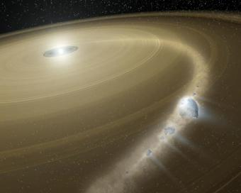 An artist's concept of a comet being torn to shreds around a dead star, or white dwarf, called G29-38