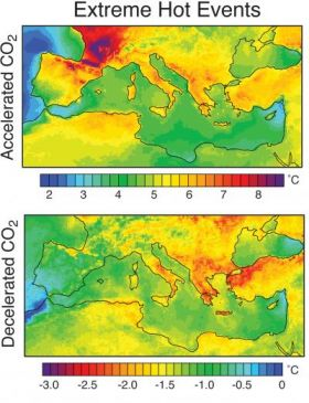 Heat Stress for 2 Greenhosue Gas Emissions Scenarios