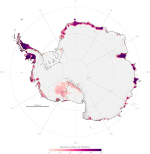 NASA researchers find snowmelt in Antarctica creeping inland