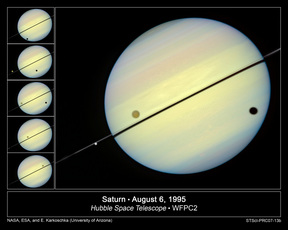 Saturn Stars in Three Hubble Movies