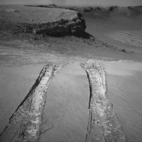 Mars Rover Opportunity Looks Back at Arena of Exploration